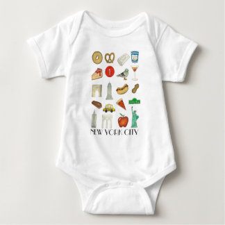NYC New York City Tourist Trip Icons Landmarks Baby Bodysuit