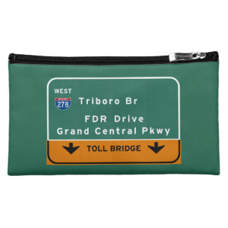 NYC New York City Triboro Br FDR Drive Interstate Cosmetic Bag