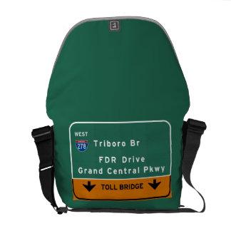 NYC New York City Triboro Br FDR Drive Interstate Messenger Bag