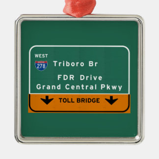 NYC New York City Triboro Br FDR Drive Interstate Square Metal Christmas Ornament