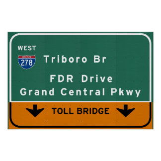 NYC New York City Triboro Br FDR Drive Interstate Poster