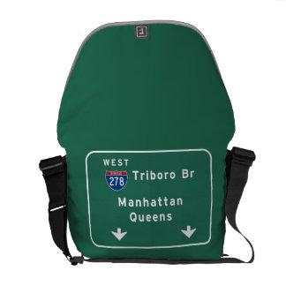 NYC New York City Triboro Br Manhattan Interstate Messenger Bag