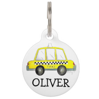 NYC New York City Yellow Checker Taxi Cab Dog Tag