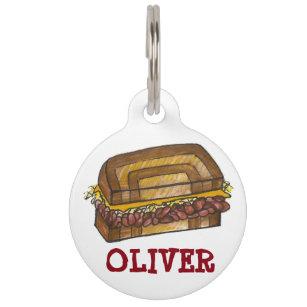 NYC New York Deli Reuben Corned Beef Sandwich Food Pet Name Tag