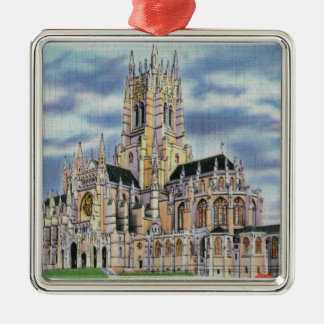 NYC, New YorkCathedral of St. John the Divine Square Metal Christmas Ornament