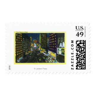 NYC, New YorkView of Times Square at Night # 1 Postage