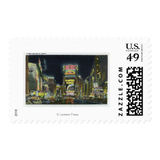 NYC, New YorkView of Times Square at Night # 2 Postage Stamp