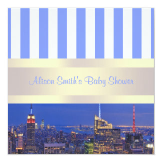 "NYC Night Skyline Blue White Stripe Baby Shower 5.25"" Square Invitation Card"