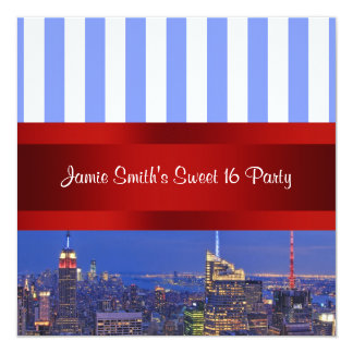 "NYC Night Skyline Blue White Stripe Sweet 16 Party 5.25"" Square Invitation Card"