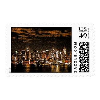 NYC Night Skyline Stamp