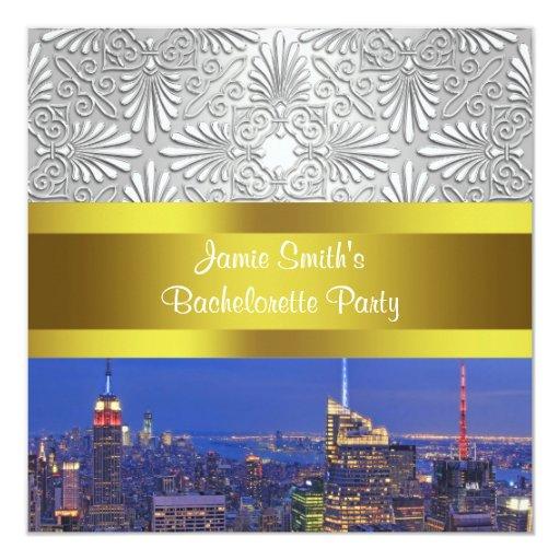NYC Night Skyline Silver Damask Bachelorette Card