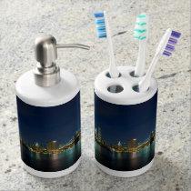 NYC night skyline Soap Dispenser & Tooth