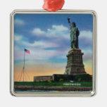 NYC, nuevo YorkView de la estatua de la libertad Adorno Navideño Cuadrado De Metal