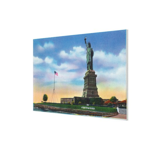 NYC, nuevo YorkView de la estatua de la libertad Impresión En Lienzo