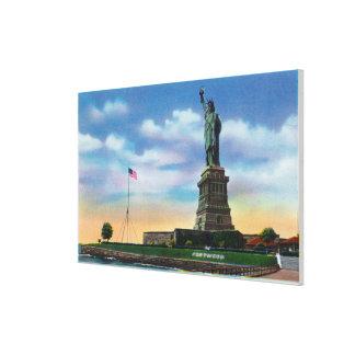 NYC, nuevo YorkView de la estatua de la libertad Lona Envuelta Para Galerias