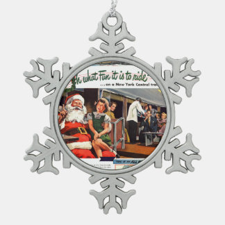 NYC,Oh What Fun it Is Snowflake Pewter Christmas Ornament