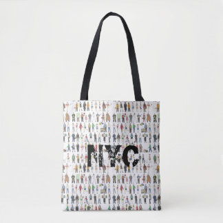 NYC People of New York City Watercolor Print Tote