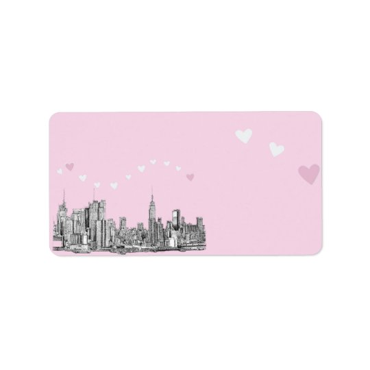 NYC pink hearts Label