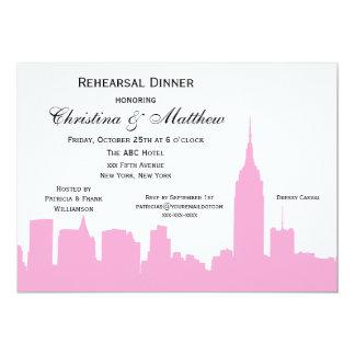 NYC Pink Skyline Silhouette Rehearsal Dinner Card