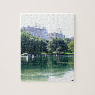NYC Pond in Central Park Canvas Print Jigsaw Puzzle