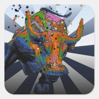 NYC psicodélico: Bull de carga de Wall Street Pegatina Cuadrada