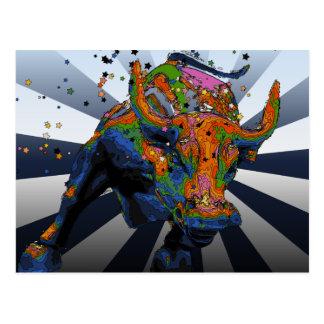 NYC psicodélico: Bull de carga de Wall Street Tarjetas Postales