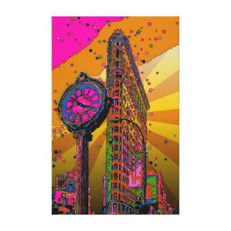 NYC psicodélico: Edificio y reloj #2B de Flatiron Impresión De Lienzo