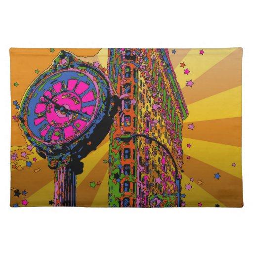 NYC psicodélico: Edificio y reloj #2B de Flatiron Mantel