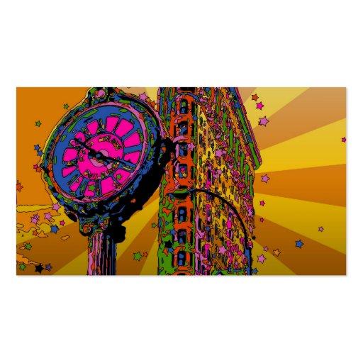 NYC psicodélico: Edificio y reloj #2B de Flatiron Tarjetas De Visita