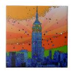NYC psicodélico: Empire State Building #3 Azulejo Ceramica