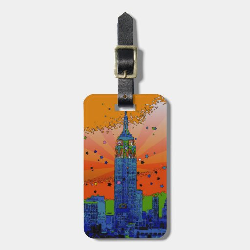 NYC psicodélico: Empire State Building #3 Etiquetas Para Maletas