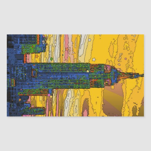 NYC psicodélico: Empire State Building B4 Pegatina Rectangular