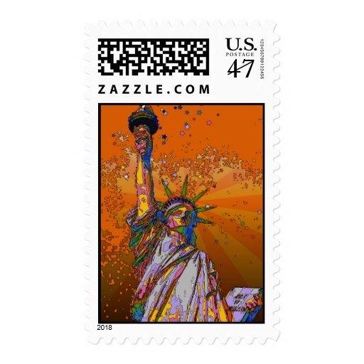 NYC psicodélico: Estatua de la libertad 001 Estampilla