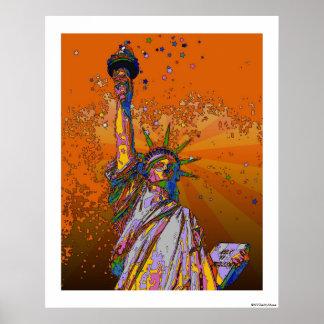 NYC psicodélico: Estatua de la libertad 001 Posters
