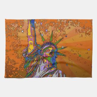 NYC psicodélico: Estatua de la libertad 001 Toalla De Cocina