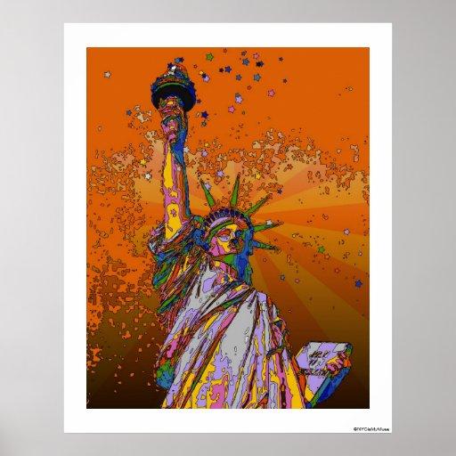 NYC psicodélico: Estatua de la libertad 001 Póster