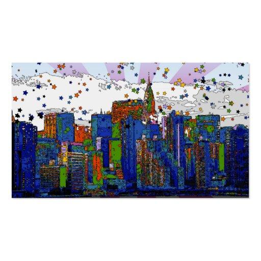 NYC psicodélico: Horizonte de NYC, edificio de Tarjetas De Visita