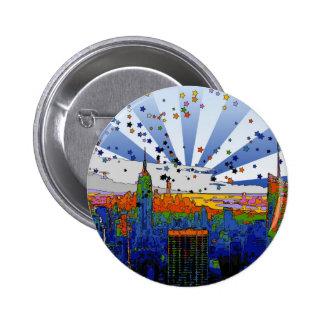 NYC psicodélico: Opinión amplia del horizonte del Pin Redondo De 2 Pulgadas