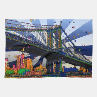 NYC psicodélico: Puente #1 de Manhattan Toallas