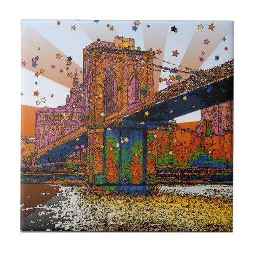 NYC psicodélico: Puente de Brooklyn #1 Azulejo Cuadrado Pequeño