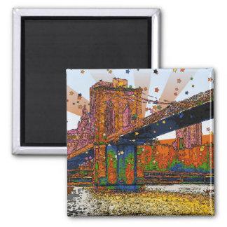 NYC psicodélico Puente de Brooklyn 1 Imán