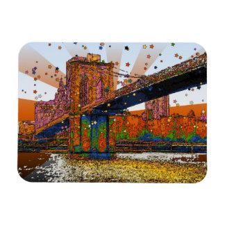 NYC psicodélico Puente de Brooklyn 1 Imán De Vinilo
