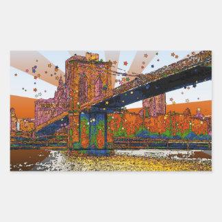 NYC psicodélico: Puente de Brooklyn #1 Pegatina Rectangular