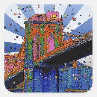 NYC psicodélico: Puente de Brooklyn #2 Pegatina Cuadrada