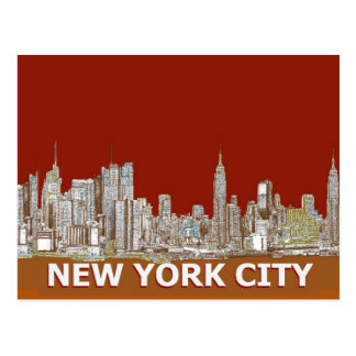 NYC red text orange Postcard