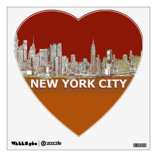NYC red text orange Wall Sticker