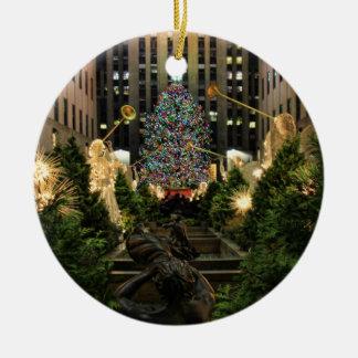NYC Rockefeller Center Christmas Tree, Angels Ceramic Ornament