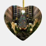 NYC Rockefeller Center Christmas Tree, Angels H Double-Sided Heart Ceramic Christmas Ornament