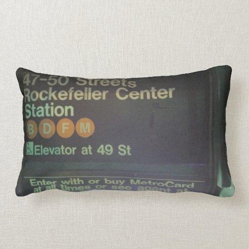 NYC Rockefeller Center Station Throw Pillows