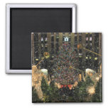 NYC Rockefeller Center Xmas Tree Falling Snow 2 Inch Square Magnet